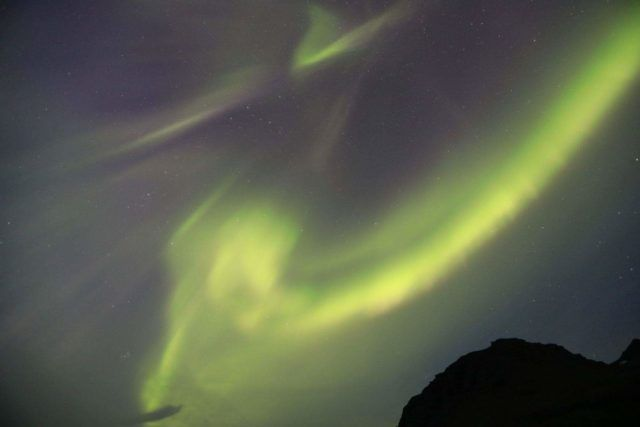 The northern lights welcomed Roei to Iceland.