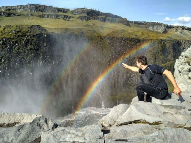 When biking in Iceland you might catch a rainbow!