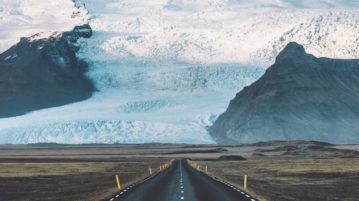 Driving into the glacier. Sort of.