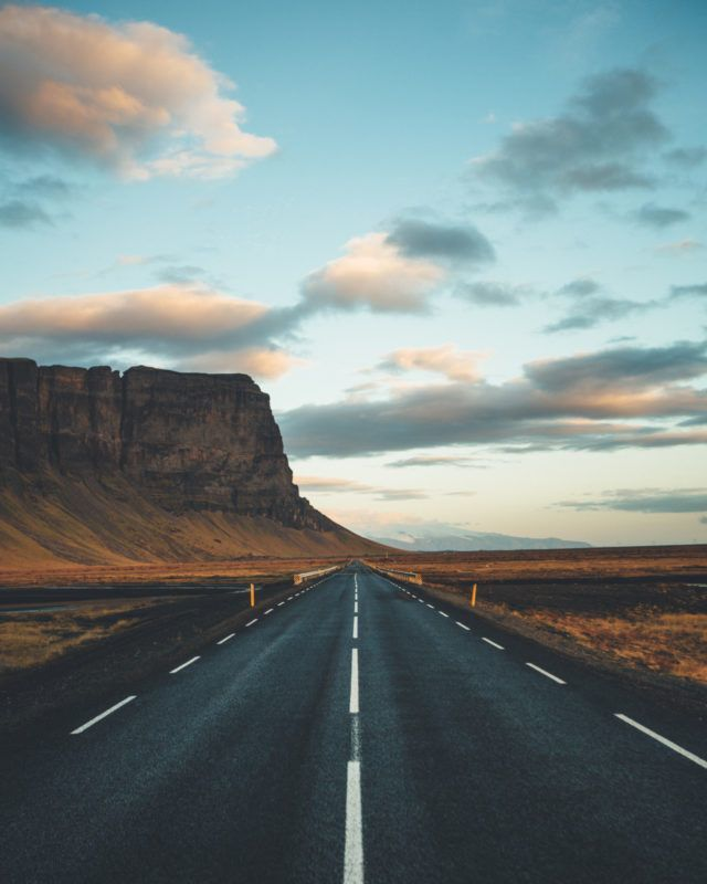 Lomagnupur Mountain and the highway in South Iceland.