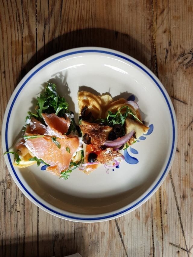 Savory Faroese waffles with delicious salmon and other goodies!