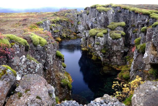 Silfra gorge at the UNESCO site of Thingvellir in Iceland.