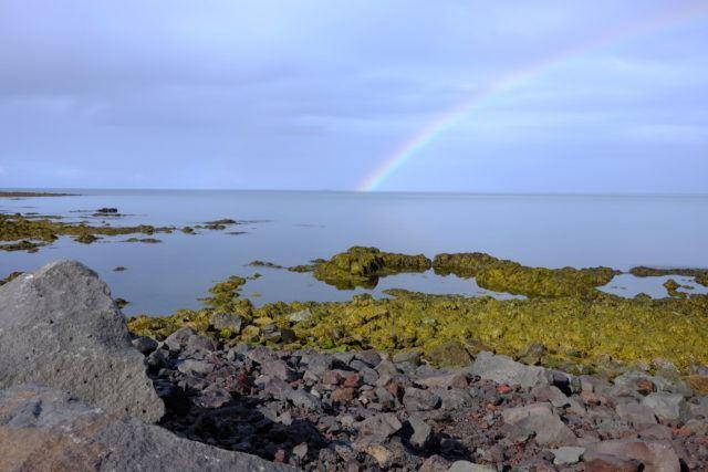 Rainbow at Seltjarnarnes at the western edge of Reykjavik, Iceland.