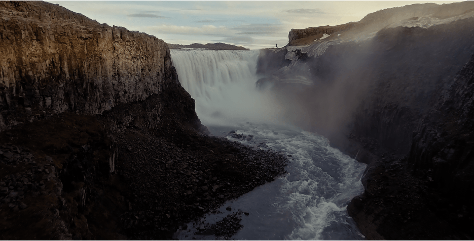 At the mighty Dettifoss waterfall, North Iceland (frame from the short film Where Trees Don´t Go).
