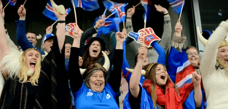 #TeamIceland - Icelandic football fans celebrate.