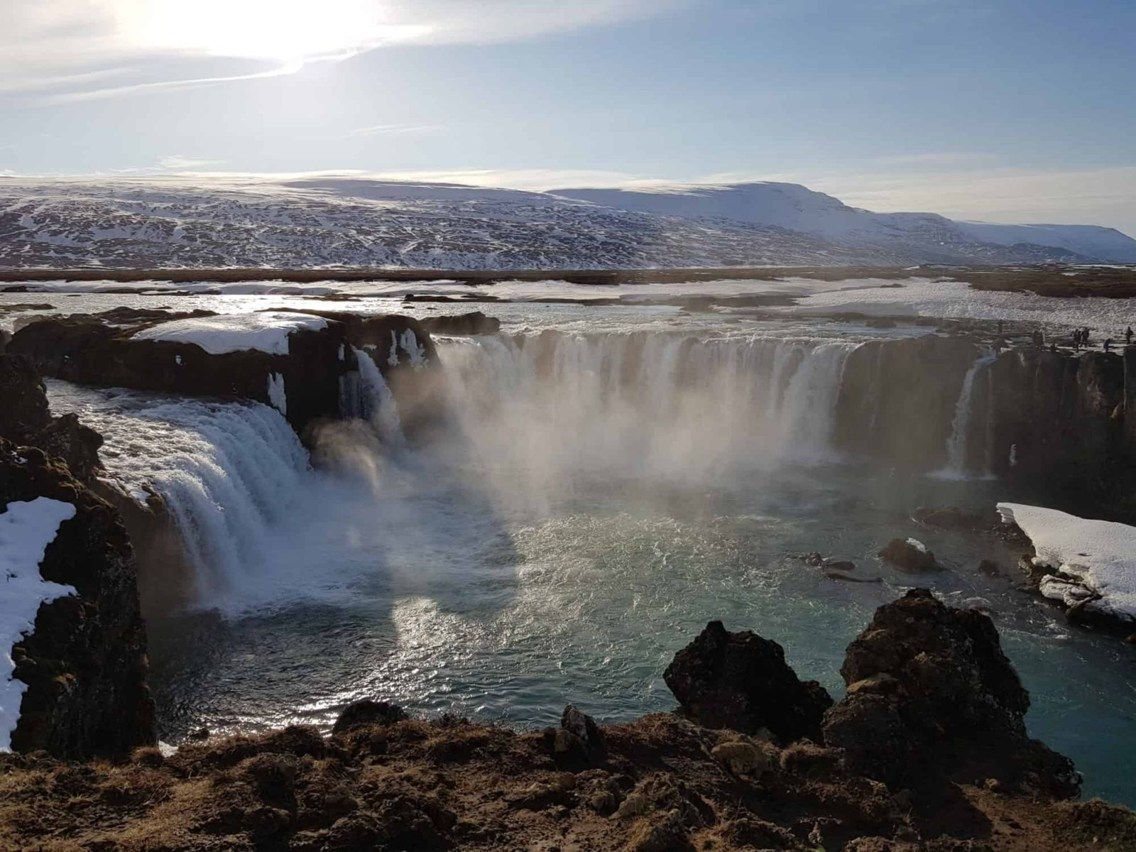 Goðafoss waterfall in Iceland in winter.