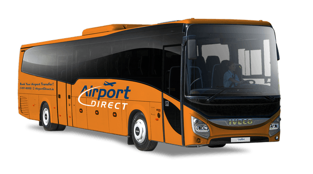 That is one orange bus. It will transfer you to or from Keflavik, Iceland.