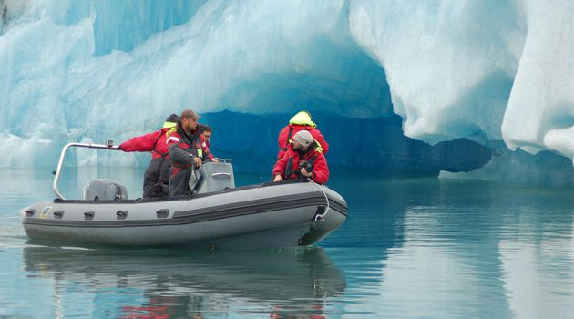 The fantastic glacial lagoon in Iceland explored on a zodiac boat.
