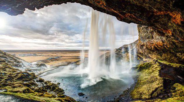 Seljalandsfoss waterfall in southern Iceland.