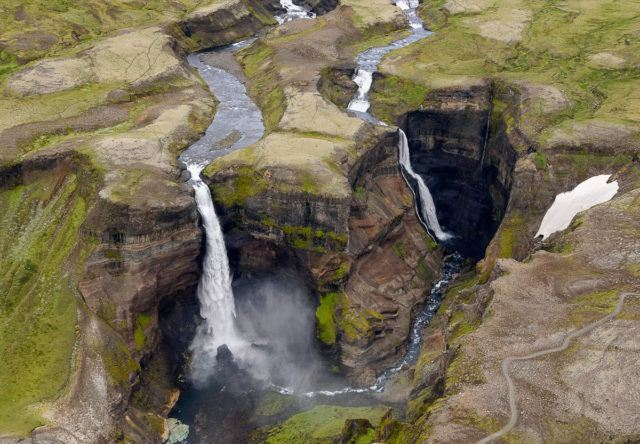 Háifoss waterfall in Iceland. Photo by Tom. A Warner.