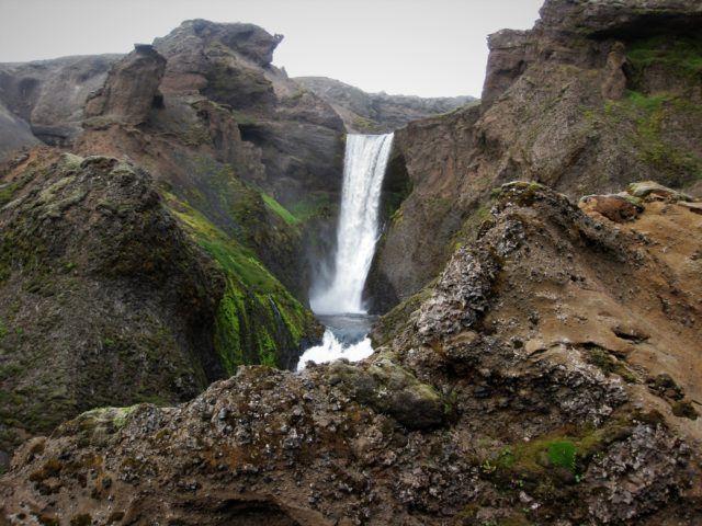 A waterfall in Skógá river on the Fimmvörðuháls Hiking Trail.