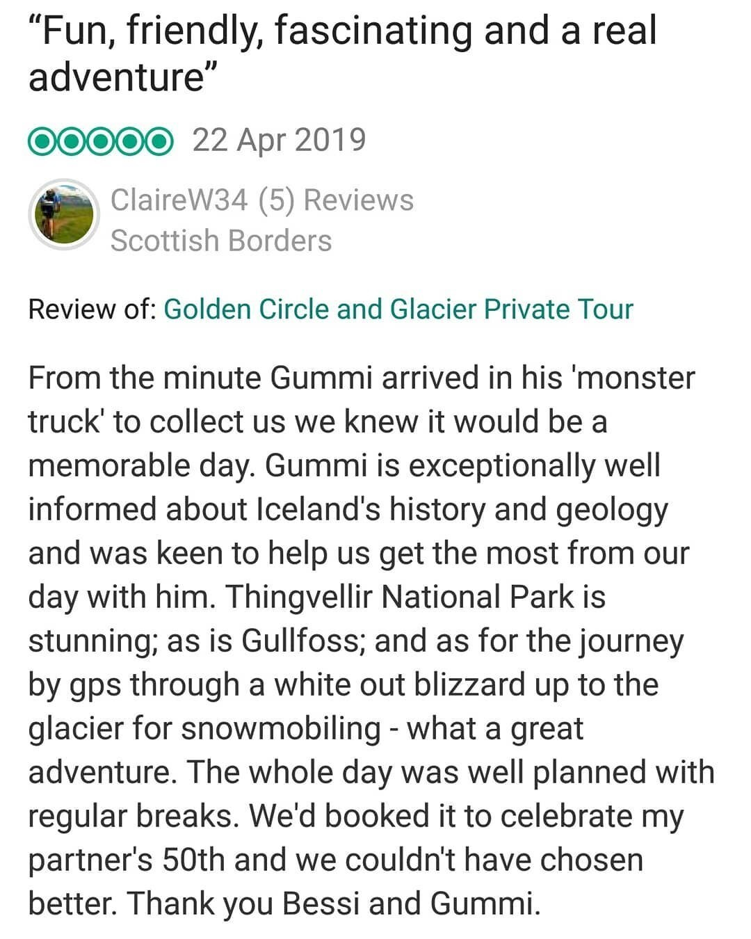 Tripadvisor review for Moonwalker tours in Iceland.