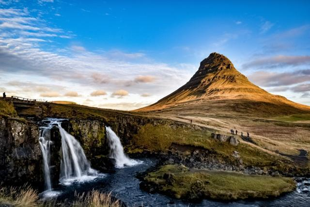 Kirkjufell mountain near Grundarfjörður town on the Snæfellsnes peninsula.