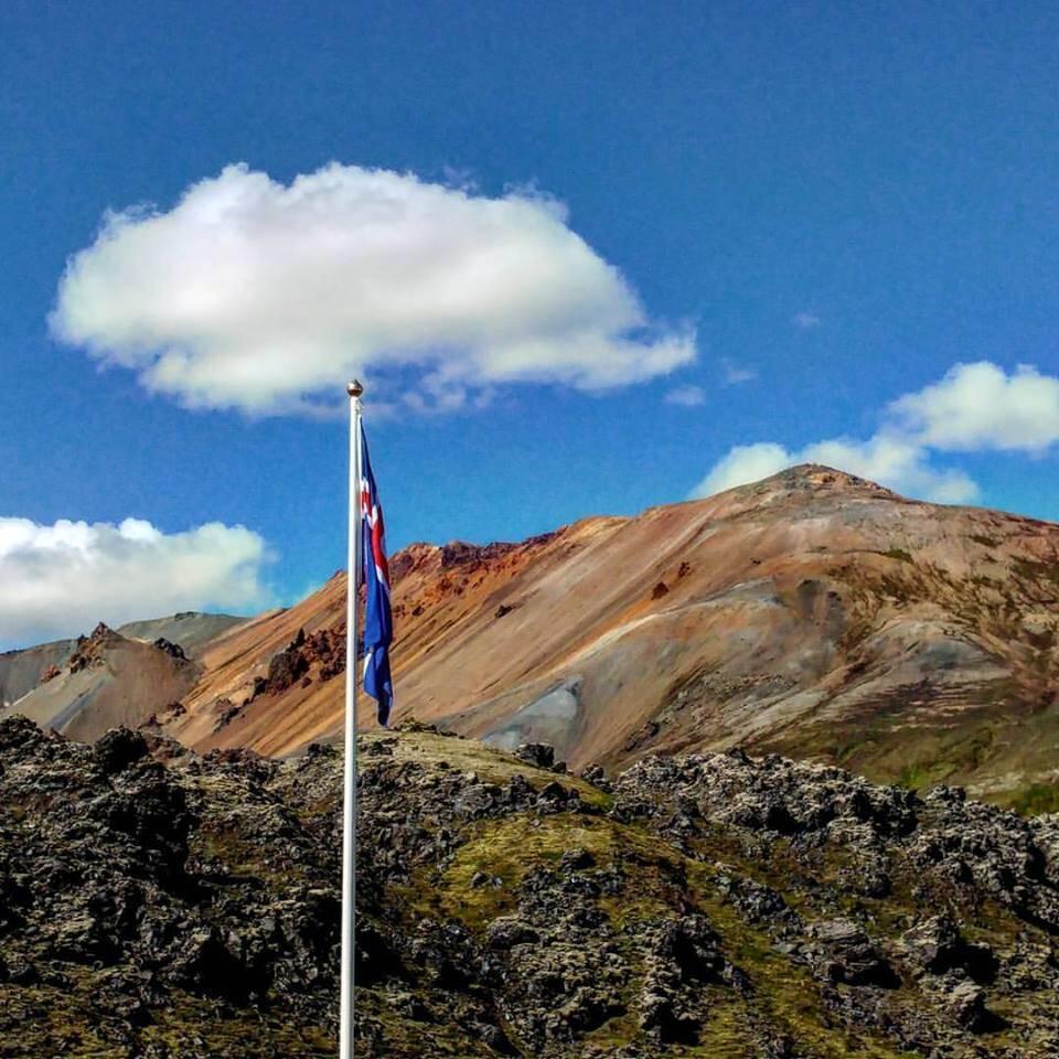 The Icelandic flag at Landmannalaugar.