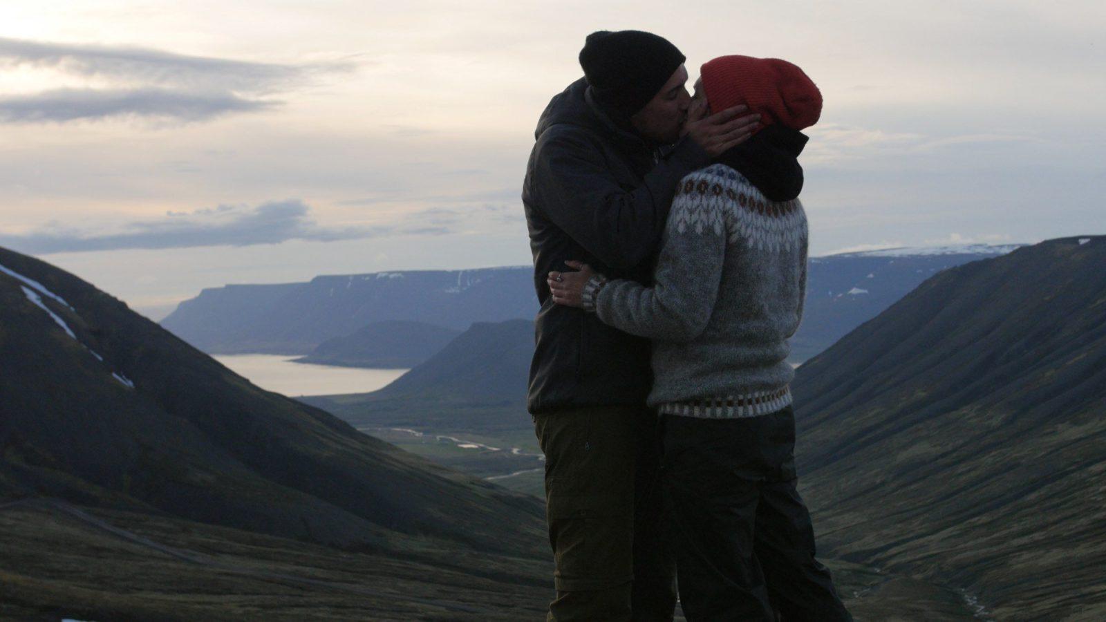 Enjoying a snog in Iceland.