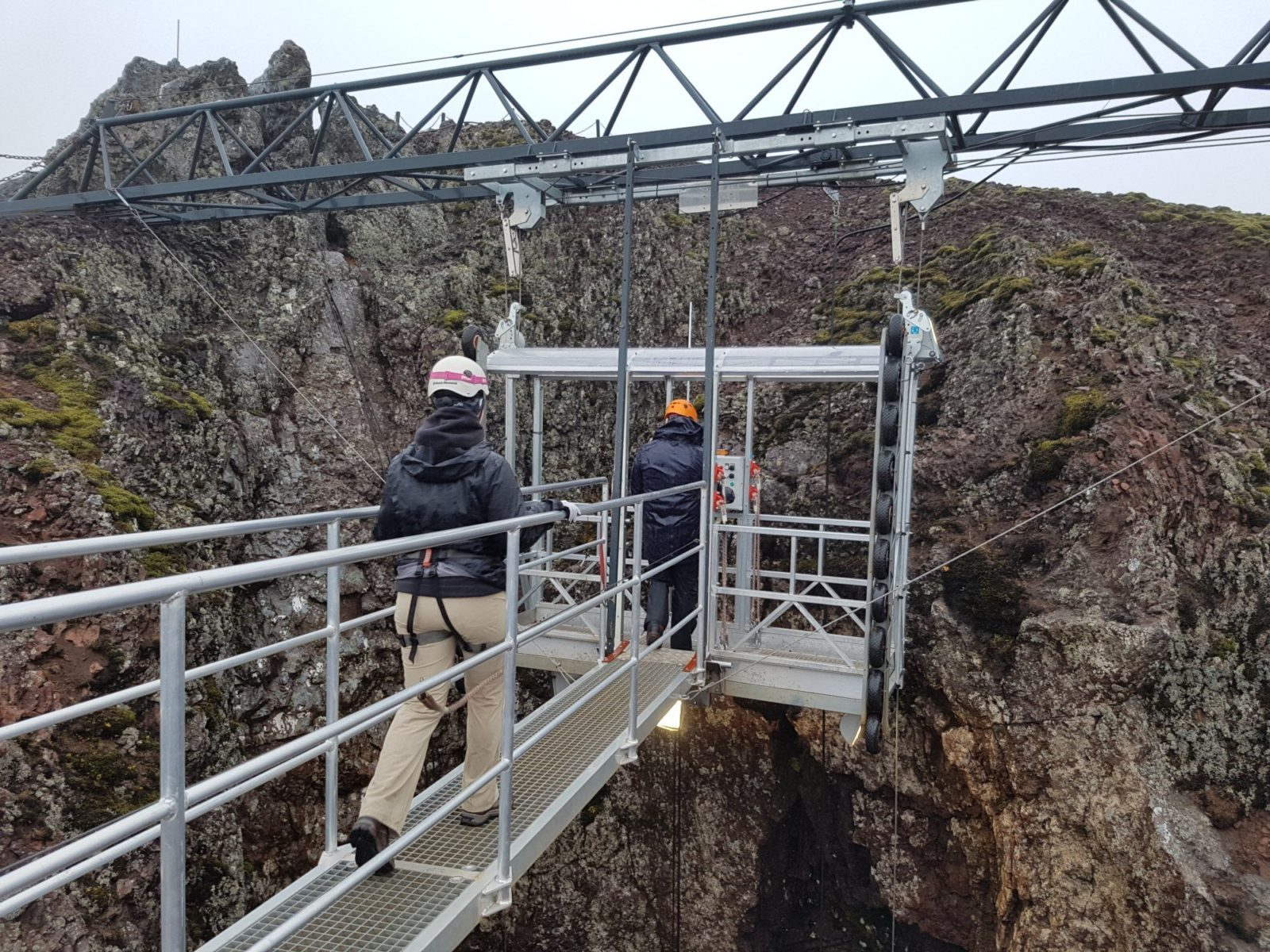 The elevator that takes you down to Thrihnukagigur magma chamber in Iceland.